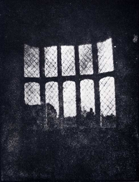 Latticed window at Lacock Abbey, August 1835. A positive from what may be the oldest existing camera negative