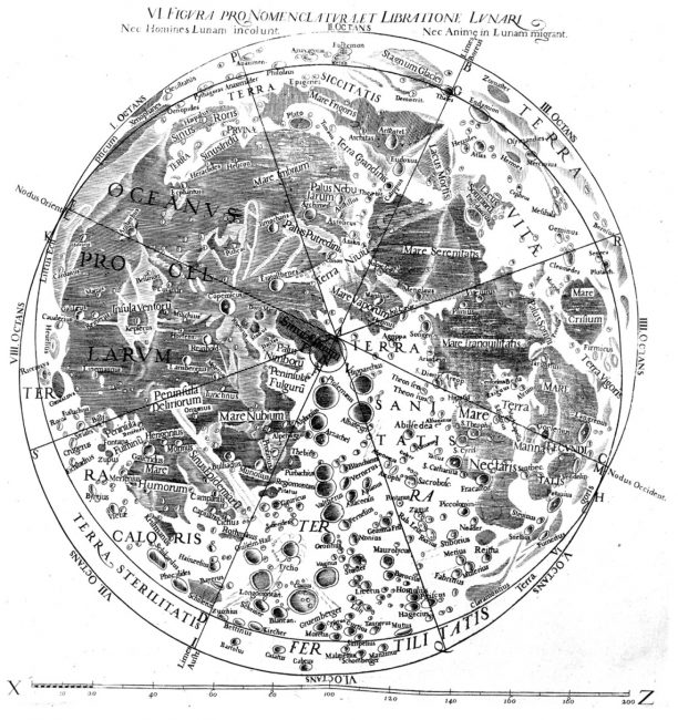 Map of the Moon from Almagestum novum astronomiam by Stoefler