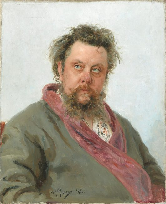Ilya Repin's celebrated portrait of Mussorgsky, painted 2–5 March 1881, only a few days before the composer's death.