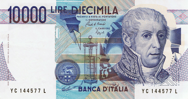Luigi Galvani and his battery depicted on 10,000 Italian Lira (1984)