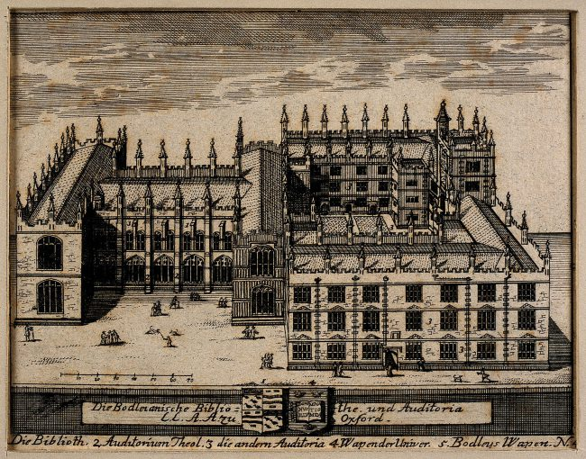 Ancient engraving of the Bodleian Library, showing below the arms of Bodley quartering the canting arms of Hone