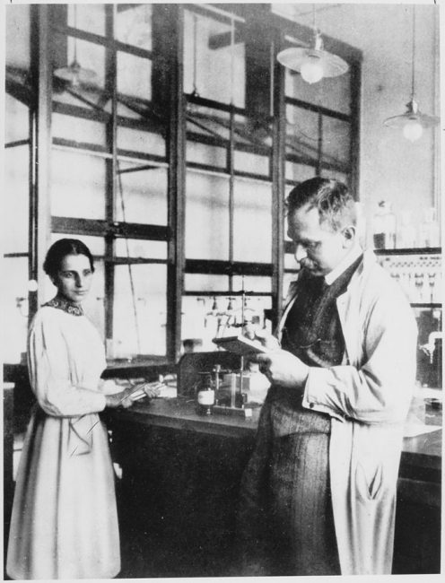 Otto Hahn and Lise Meitner at the laboratory