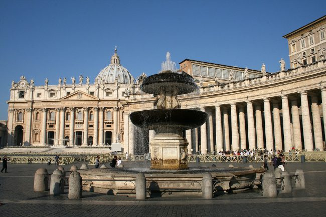 St Peter's, Bernini's colonnade and Maderno's fountain
