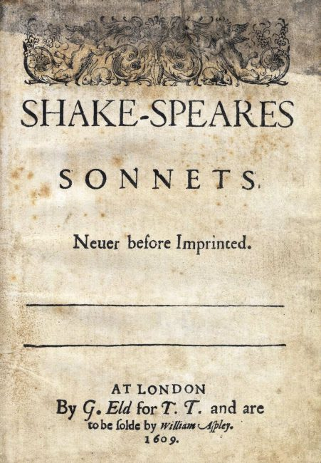 Shake-Speare's Sonnets, quarto published by Thomas Thorpe, London, 1609