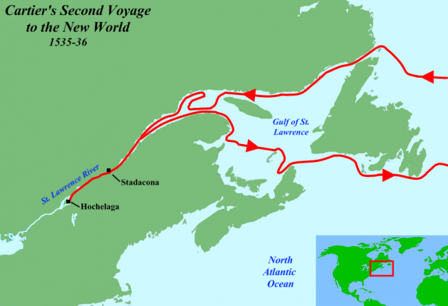 Route of Cartier's second voyage.