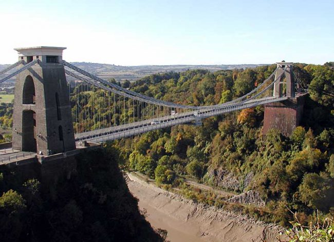 The Clifton Suspension Bridge spans Avon Gorge, linking Clifton in Bristol to Leigh Woods in North Somerset