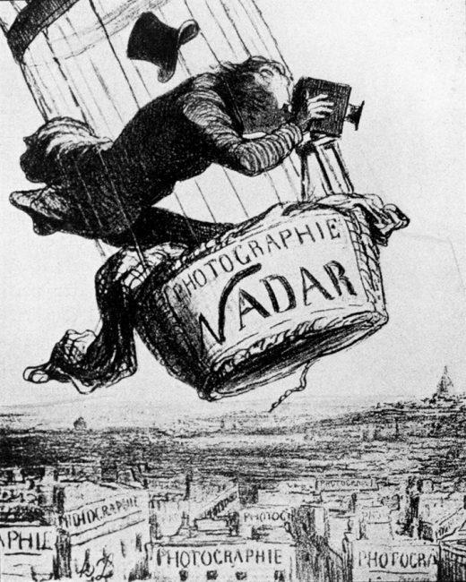 """Nadar, élevant la photographie à la hauteur de l'Art."""" by Honoré Daumier."""