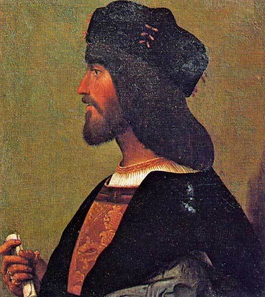 "Cesare Borgia, Duke of Valentinois. According to Machiavelli, a risk taker and example of ""criminal virtue"". Failed in the end because of one mistake: he was naïve to trust a new Pope."