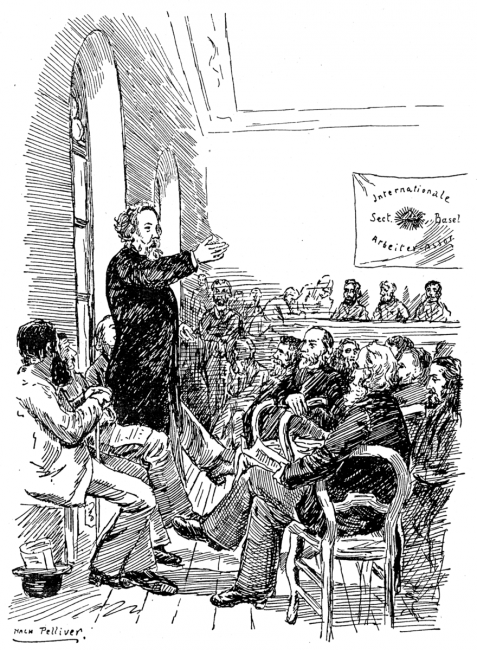 Bakunin speaking to members of the IWA at the congress in Basel 1869.