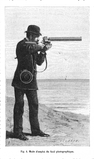 Illustration of the chronophotographic gun from La Nature n. 464, 22 April 1882, p. 326