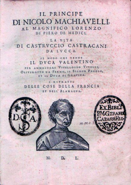 Cover page of 1550 edition of Machiavelli's Il Principe and La Vita di Castruccio Castracani da Lucca.