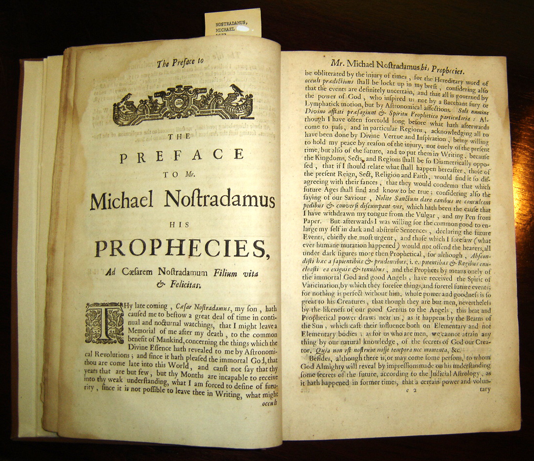 Nostradamus, copy of Theophilus de Garencières' English translation of the Propheties of 1672, today in the P. I. Nixon Medical History Library of the University of Texas at San Antonio