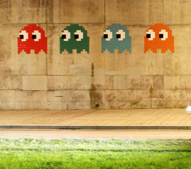 Pac-Man monster by artist Invader at the Guggenheim Museum Bilbao