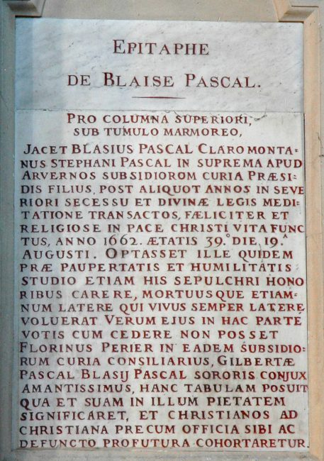 Epitaph of Pascal in the church St-Étienne-du-Mont in the 5th arrondissement of Paris