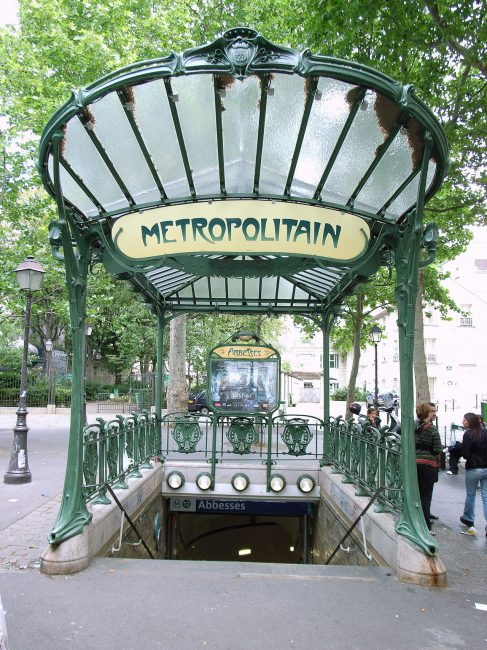 Entrance to Abbesses, Paris Metro. Art Nouveau design by Hector Guimard.