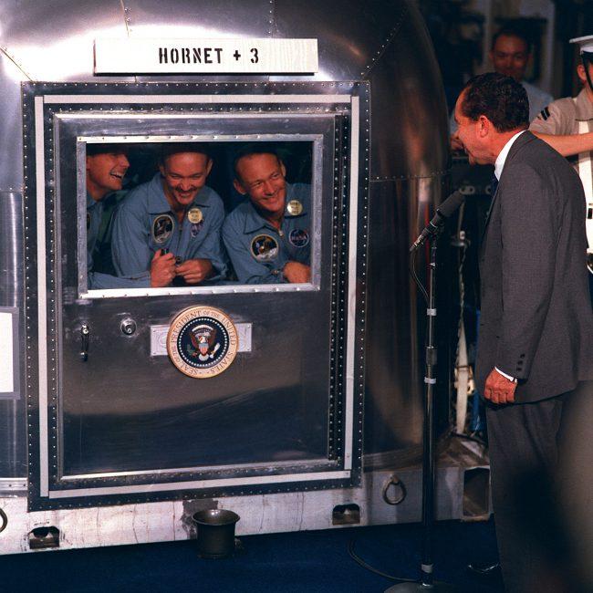 President Richard Nixon visits astronauts during quarantine