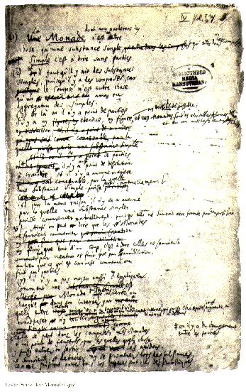 A page from Leibniz's manuscript of the Monadology