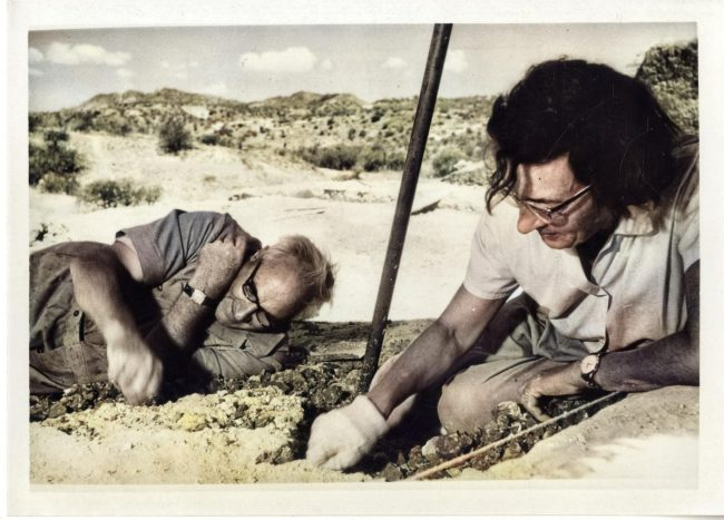 Mary Leakey and Louis Leakey at Olduvai Gorge