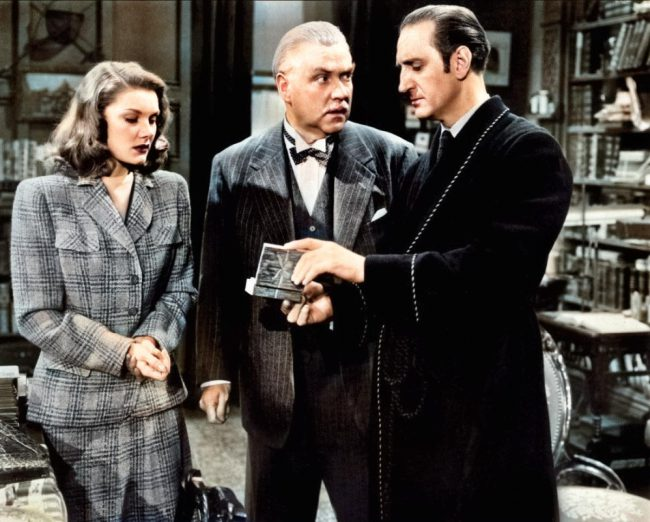 "Basi Rathbone as Sherlock Holmes, with Eve Amber, Nigel Bruce in The ""Woman in Green"" (1945)"