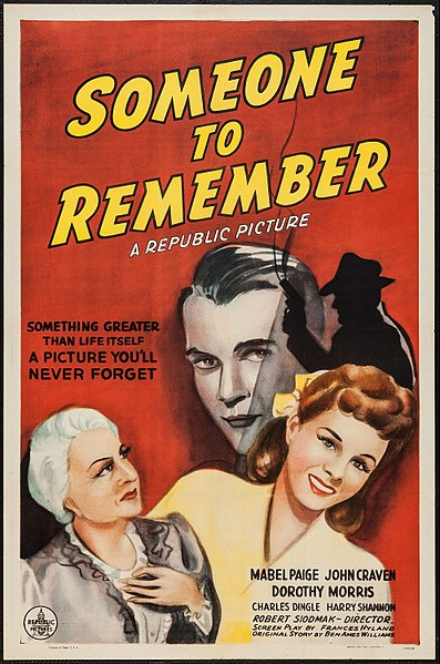 "Robert Siodmak, Poster for the 1943 film ""Someone to Remember"""