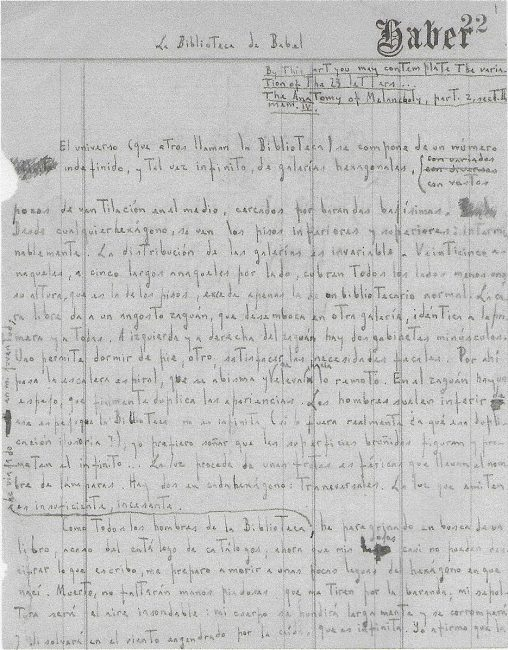 The first page of the hand written manuscript of Jorge Luis Borges' Library of Babel (La biblioteca de Babel). First published in early form (essay, The Total Library) in early 1939