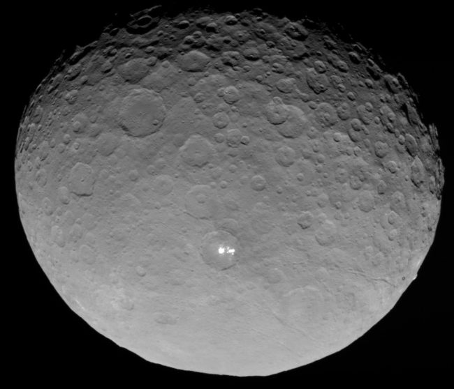 Ceres photographed by NASA's Dawn spacecraft from a distance of about 13500km, including the two prominent bright spots.