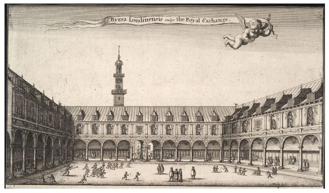 The original Royal Exchange in an engraving by Wenceslaus Hollar