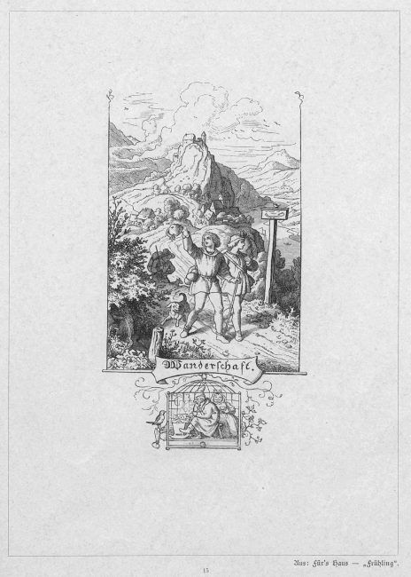 'Wanderschaft by Ludwig Richter, illustration for Eichendorff's poem The Happy Wanderer, woodcut 1858-61