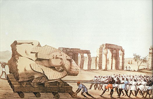 Transport of the bust of Ramses II.