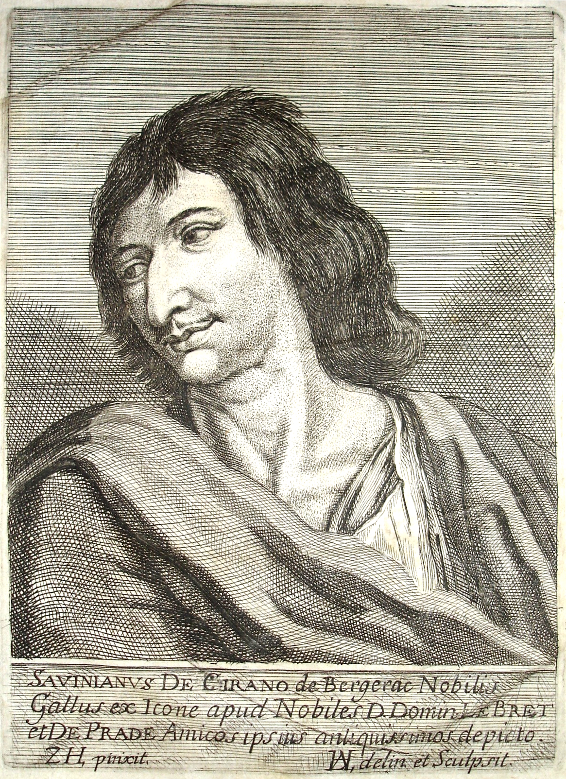 Cyrano de Bergerac (1619 – 1655), Portrait drawn and engraved by an artist who signed with a monogram, after a painting by Zacharie Heince.