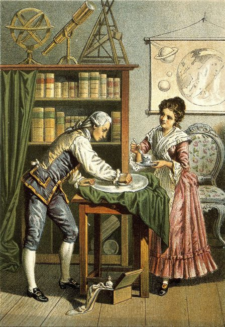 Wilhelm and Caroline Herschel polishing a telescope mirror