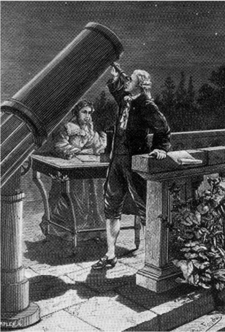 Caroline Herschel Taking Notes as Her Brother William Observes on March 13, 1781, the Night William Discovered Uranus.