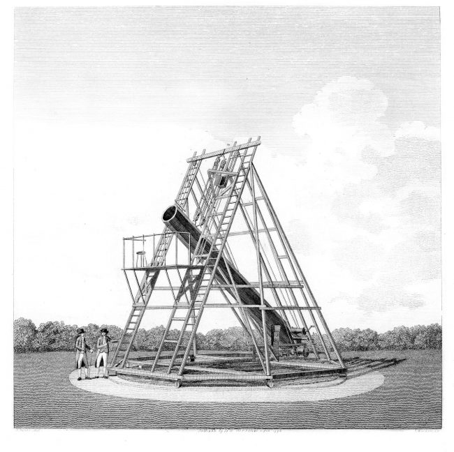 Print of the twenty-foot reflecting telescope of William Herschel, published 1794.