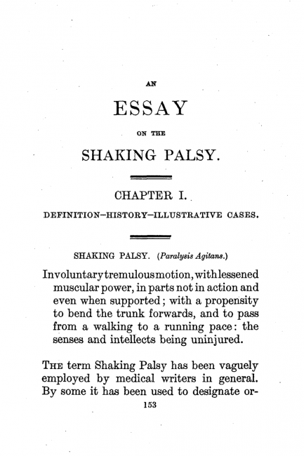 First page of Parkinson's classical essay on shaking palsy