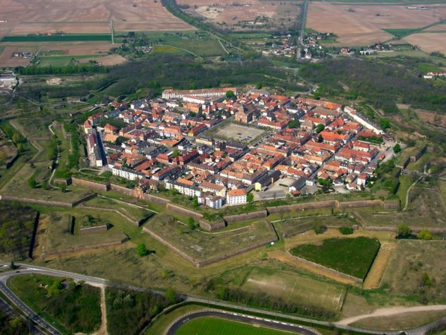 Neuf-Brisach, a product of Vauban's third system, where civilian buildings formed part of the defence system
