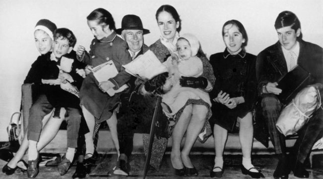 Charlie Chaplin with his wife Oona and their children (L-R) Geraldine, Eugene, Victoria, Annette, Josephine, and Michael.