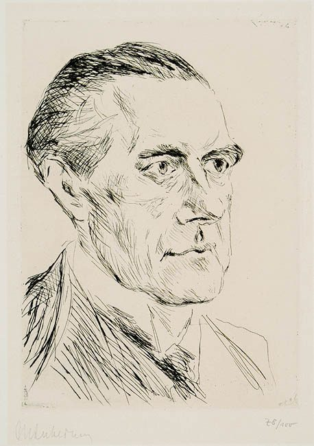 Peter Behrens (14 April 1868 – 27 February 1940), Max Liebermann: Portrait of Peter Behrens, 1923; etching on cardboard
