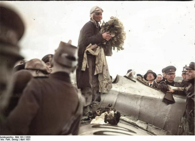 Elly Beinhorn arrives at Berlin Tempelhof in 1931 Image Source: German Federal Archive, Accession number:102-11633