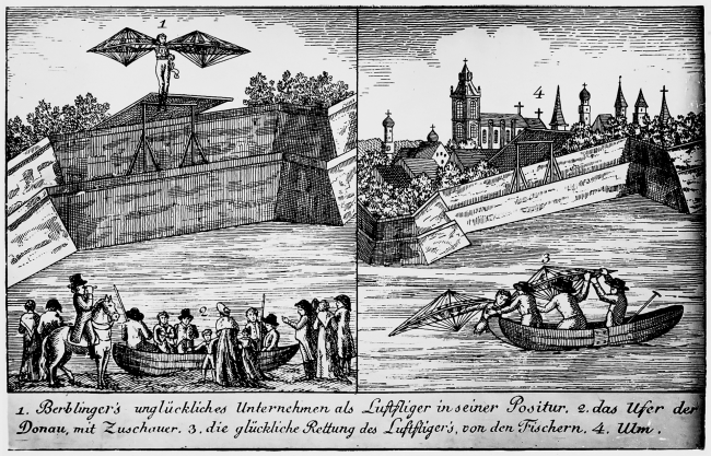 "The flight attempt of the ""tailor of Ulm"" (contemporary representation)."