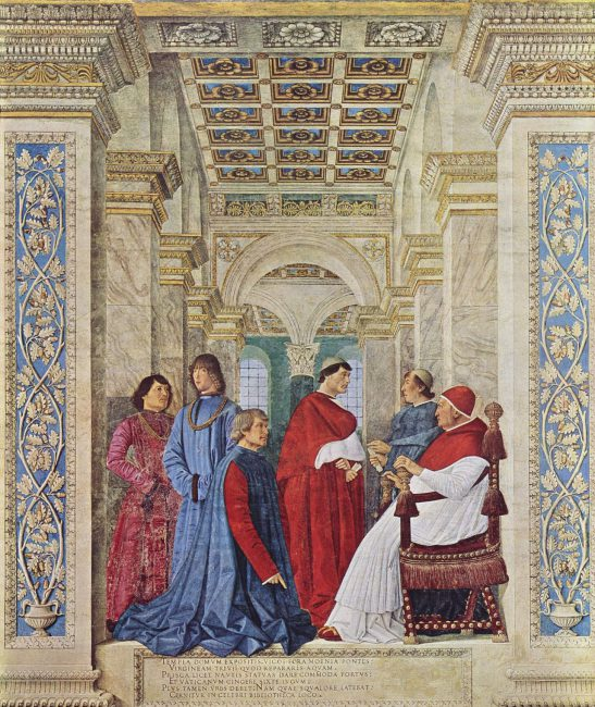 Pope Sixtus IV appoints Bartolomeo Platina as Prefect of the Vatican Library. Fresco by Melozzo da Forlì