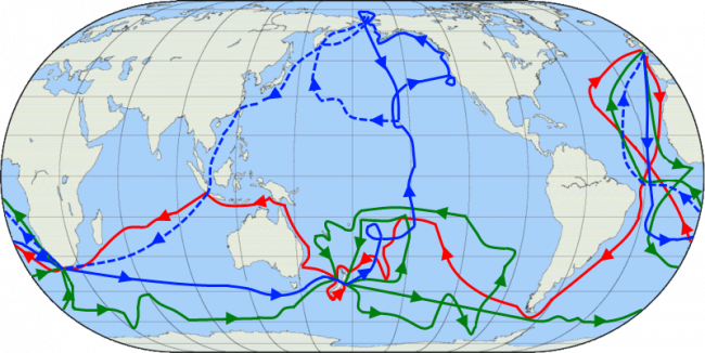 The routes of Cook's journeys: red = 1st journey, green = 2nd journey, blue = 3rd journey, blue dashed line = route of his crew after he was killed