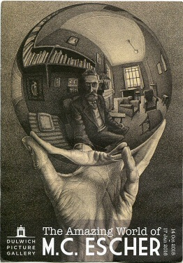 Poster advertising the first major exhibition of Escher's work in Britain (Dulwich Picture Gallery, 14 October 2015 – 17 January 2016). The image is based on Hand with Reflecting Sphere, 1935