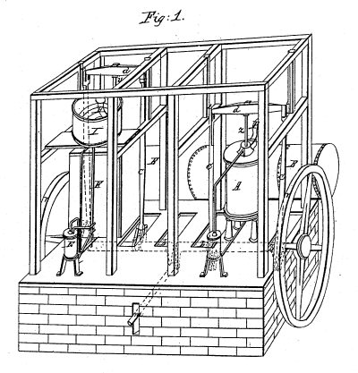 Schematic of Gorrie's ice machine.