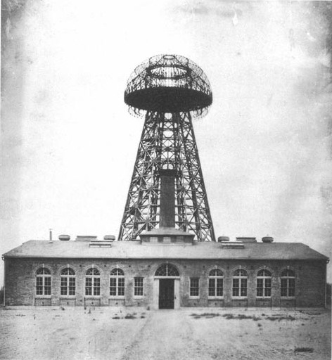 Tesla's Wardenclyffe plant on Long Island in 1904. From this facility, Tesla hoped to demonstrate wireless transmission of electrical energy across the Atlantic.