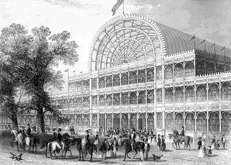 Main facade and transept of the Crystal Palace in London's Hyde Park