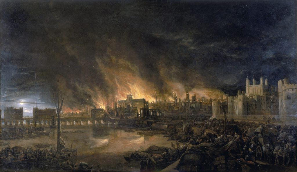 Illustration of the Great Fire of London by an unknown painter