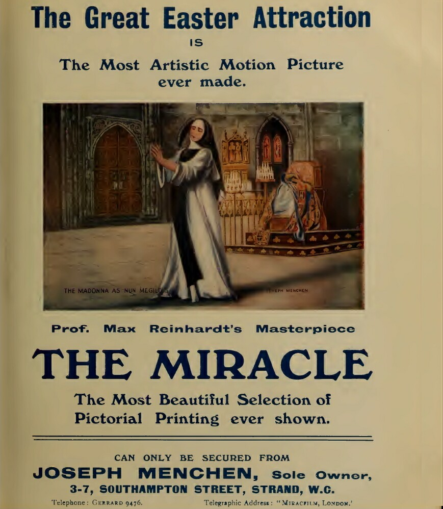 Publicity material for the 1912 film 'The Miracle' by Joseph Menchen