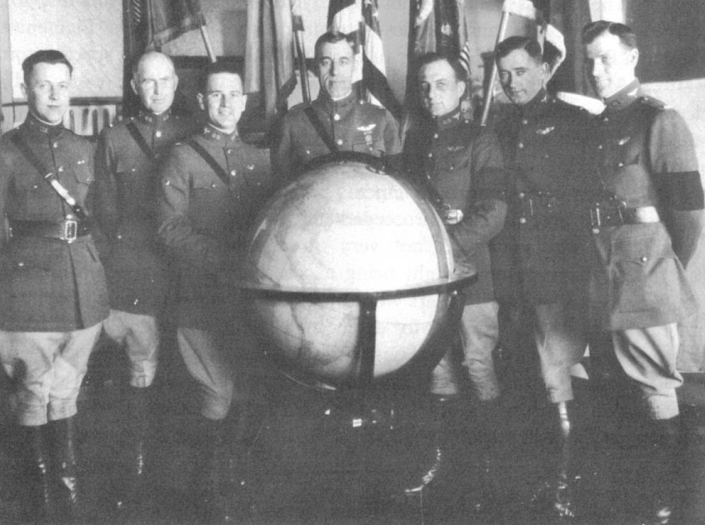 Pilots of the 1924 Round The World Flight - Circumnavigation - (Left to RIght): 1st Lt. John Harding, 1st Lt. Erik Nelson, 1st Lt. Leigh Wade, Maj. Frederick Martin, !st Lt. Leslie Arnold, 1st Lt. Lowell Smith, and Lt. L.D. Schulze. (Schulze and Arnold are alternates)