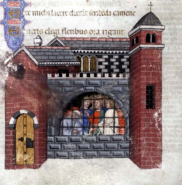 Boethius imprisoned, from a 1385 manuscript of the Consolation.