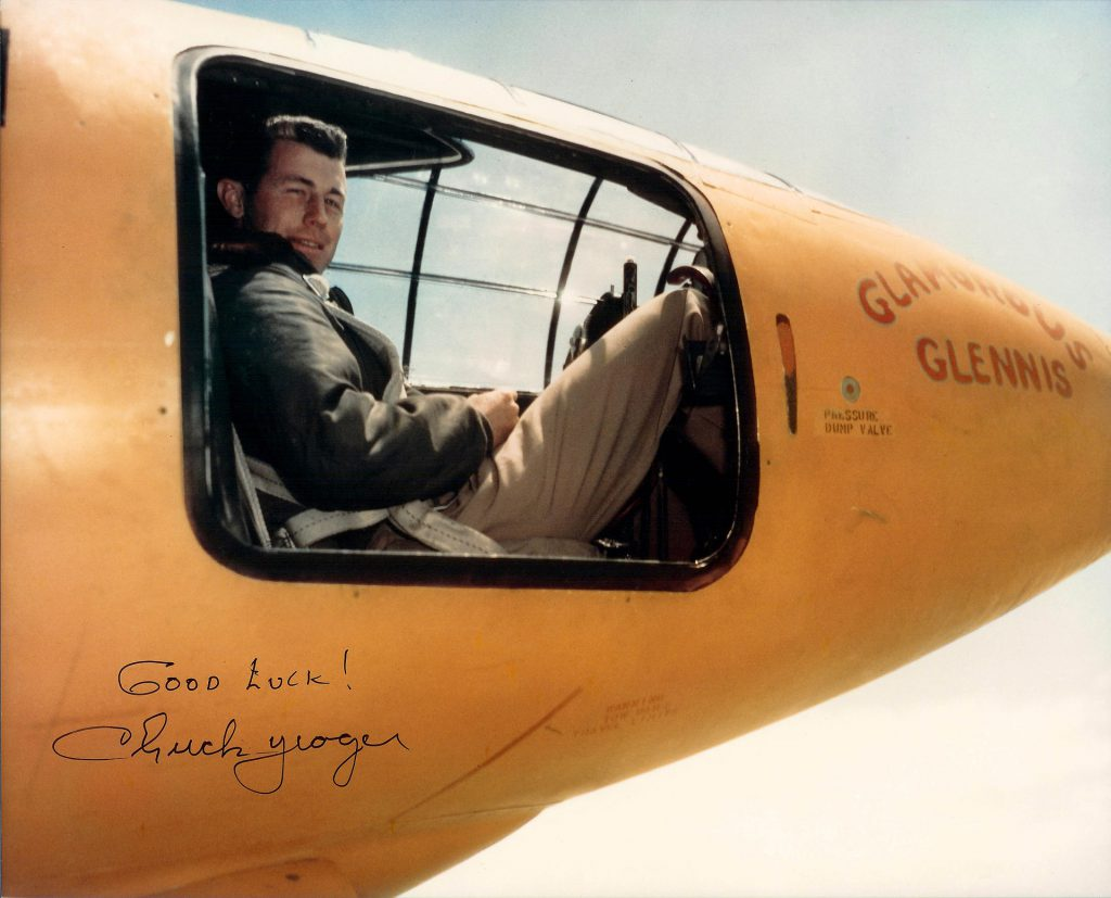 "Charles ""Chuck"" Yaeger in front of the Bell X-1"